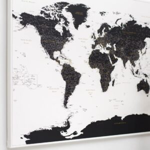 Schwarz-und-Weiß-Detaillierte-Pinnwand-Weltkarte