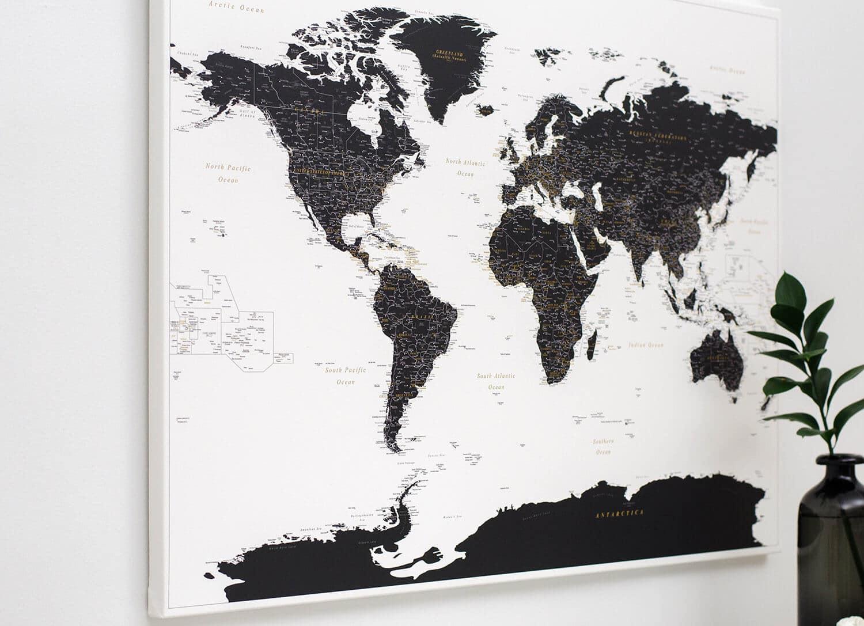Pinnwand Weltkarte Schwarz Und Weiß