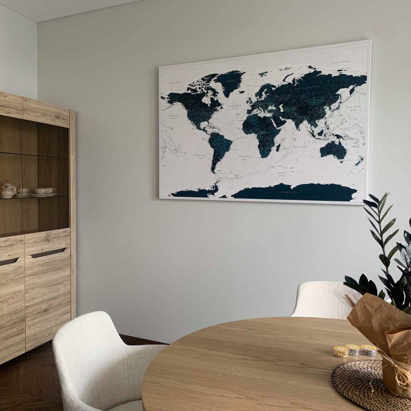 Wand-Innere-Pinnwand-Weltkarte-Meerblau-Kork-zum-markieren