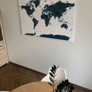 Wand-Kunstdruck-Pinnwand-Weltkarte-Meerblau
