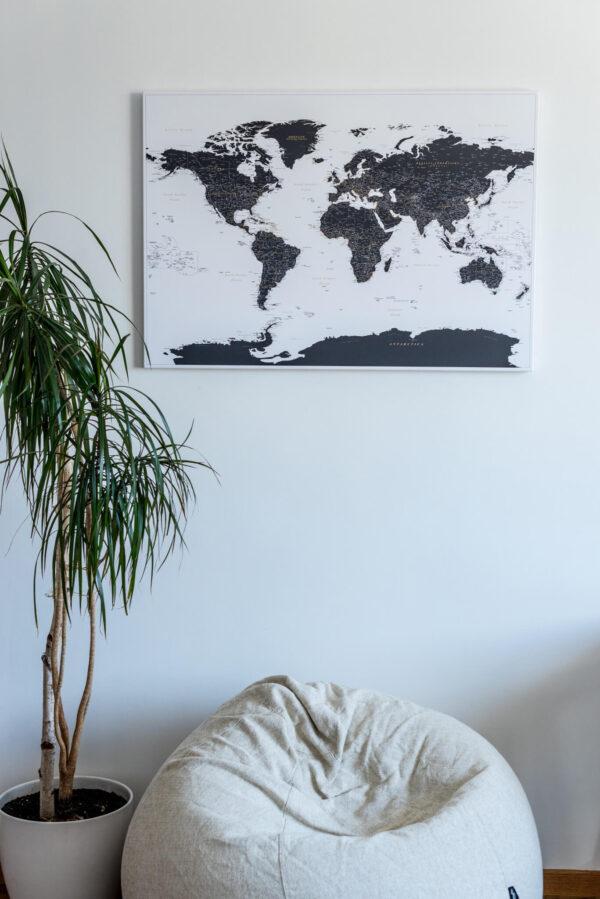 Weiß-Und-Schwarz-Detaillierte-Pinnwand-Weltkarte
