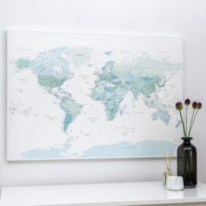 Pinnwand-Weltkarte–Himmelblau