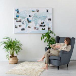 Pinnwand Weltkarte Himmelblau auf leinwand