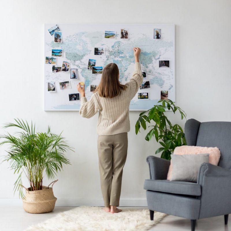 Pinnwand Weltkarte Himmelblau stecknadel
