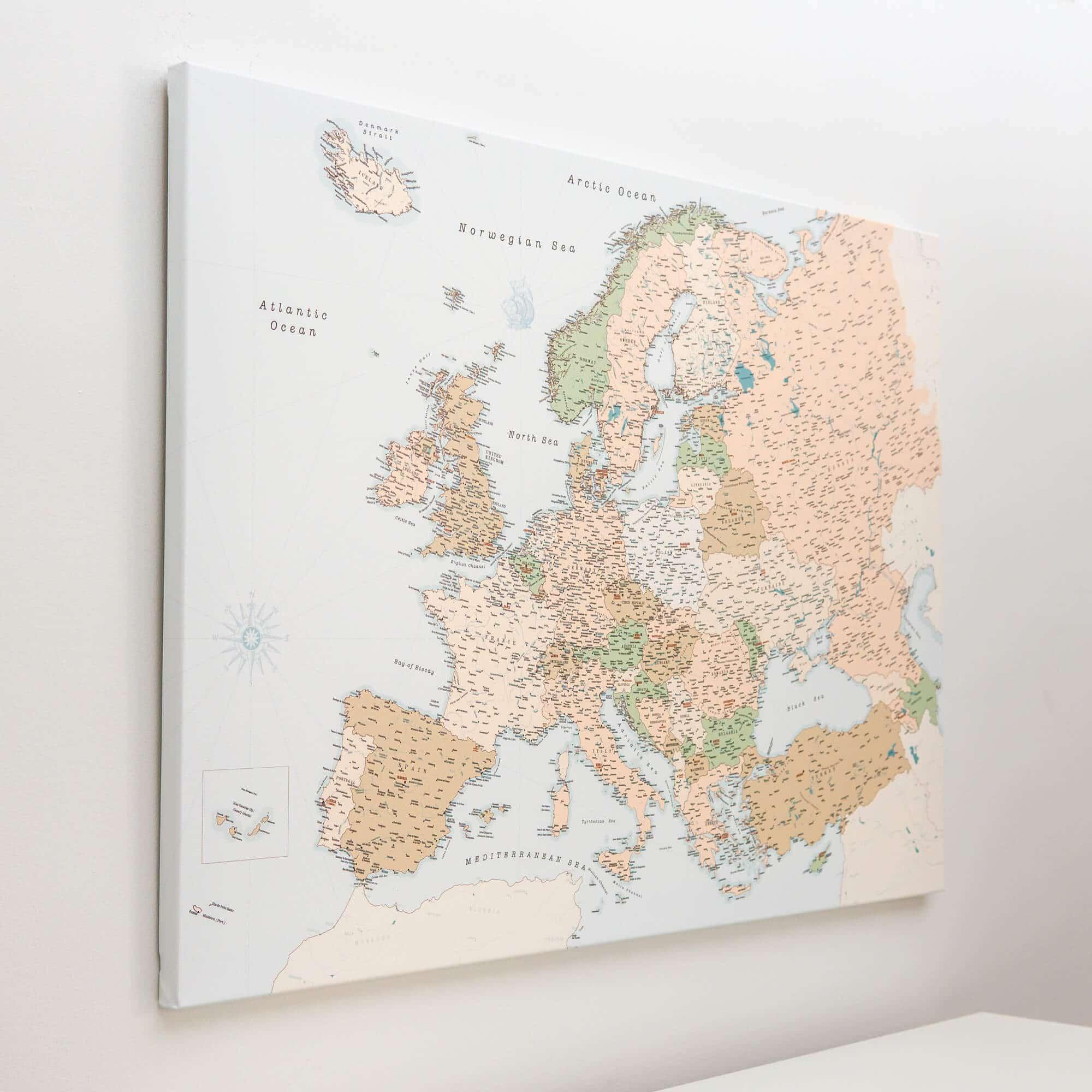detailliert europa karte mit pins tripmapworld