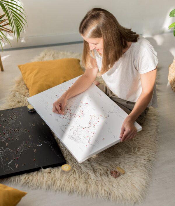 Pinnwand Weltkarte Weiß auf leinwand
