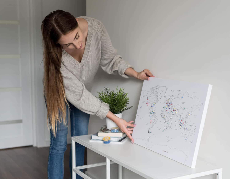 Weiß-Kinder-Weltkarte-Push-Pin-Pinnwand-60x40cm-Tripmapworld