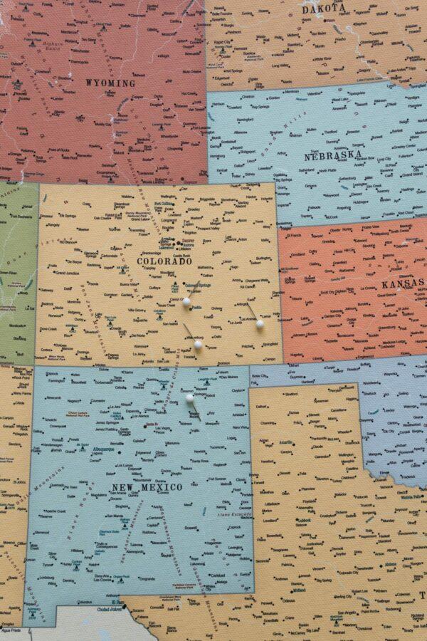 Detailliert USA Karte auf leinwand Bunte