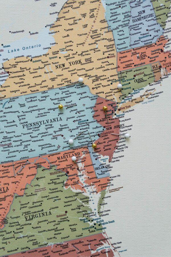Detailliert USA Karte zum pinnen Bunte
