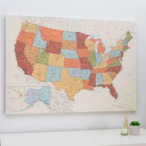 Pinnwand USA Karte Bunte Detailliert