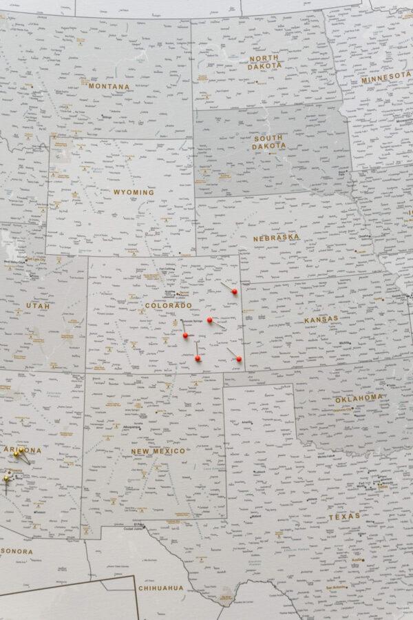 USA Karte auf leinwand Grau Weiß mit pins