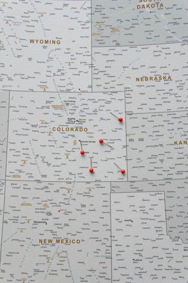 USA Karte auf leinwand Grau Weiß zum pinnen