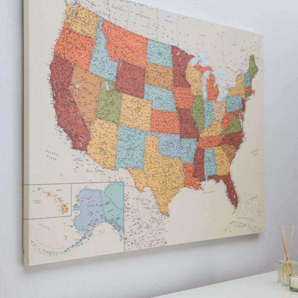 USA Karte auf leinwand mit rahmen Bunte Detailliert