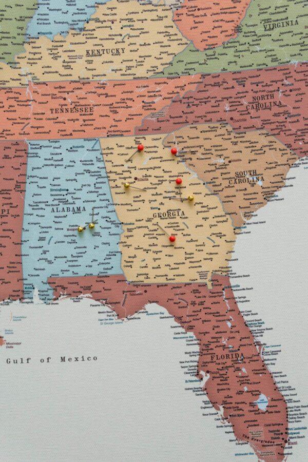 Pinnwand USA Karte Bunte mit pins